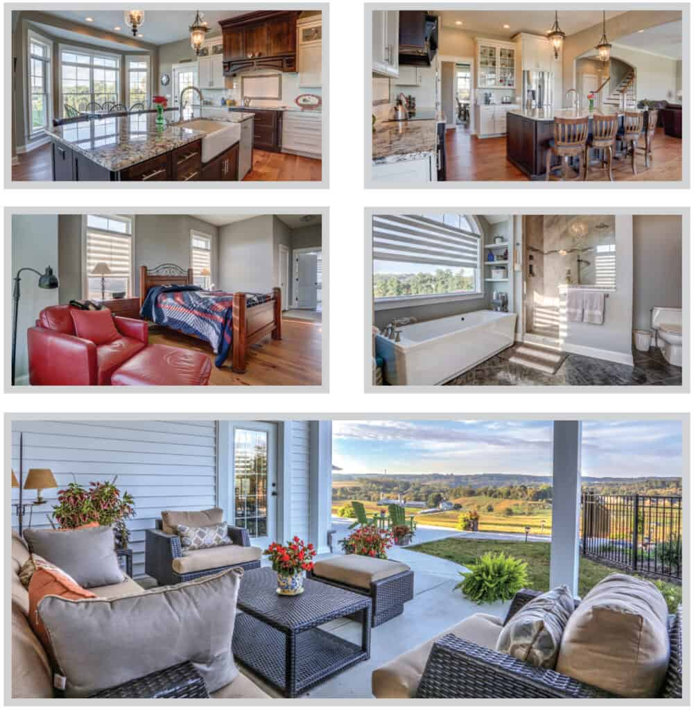 collage of photos for a new one story home. photos show the kitchen and dining area, bedroom, bathroom, and back patio with a scenic overlook