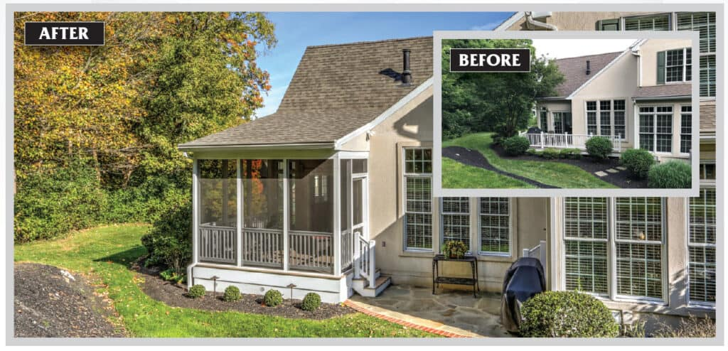 before and after renovation photos of a screened in porch conversion from a patio
