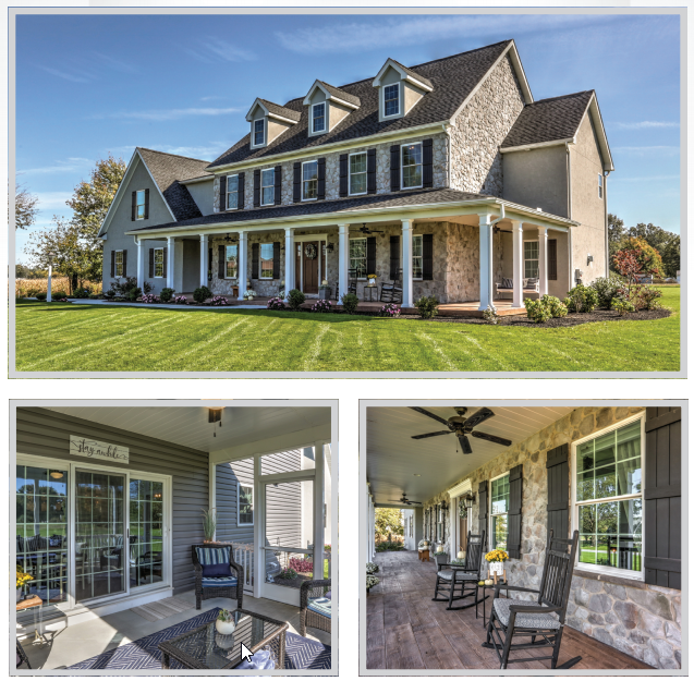 collage of a new home built by metzler home builders